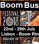 Boom Bus Return Trip from Lisbon airport to the festival and back (Click here for  times)